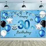 Banner de Fondo Happy 30th Birthday Tela Extra Grande Fondo de Fotografía Cartel de Cumpleaños de Número 30 para Decoraciones de Fiesta de Aniversario de 30 Años, 72,8 x 43,3 Pulgadas