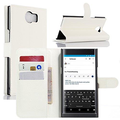 BlackBerry Priv Hülle, HualuBro [Standfunktion] [All Aro& Schutz] Premium PU Leder Leather Wallet Handy Tasche Schutzhülle Hülle Flip Cover mit Karten Slot für BlackBerry Priv Smartphone (Weiß)
