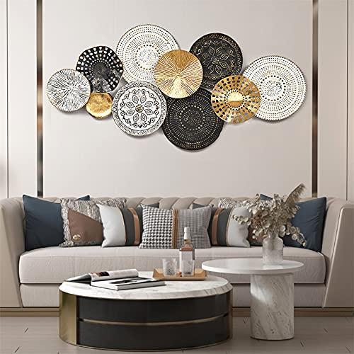 Metal Rompecabezas circular Wall Art Déco, Patrones la Forma Redonda Bohemia Pared, Colgante en Relieve para la Sala Estar la Sala Estar Escultura Colgante