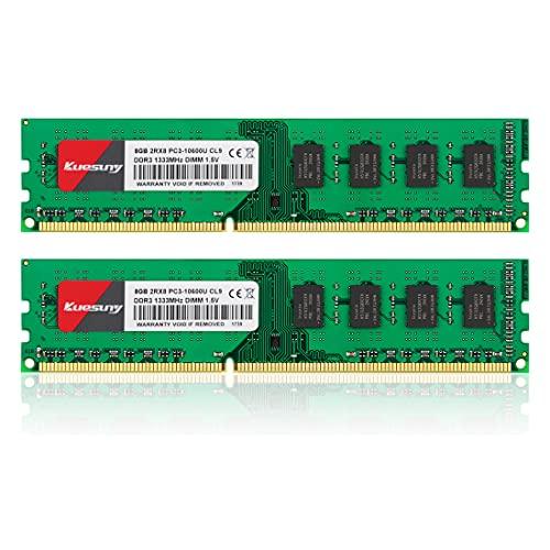 クエスニー デスクトップ PC用メモリ DDR3 1333 PC3-10600 8GB×2枚 240Pin CL9 Non-ECC DIMM 1.5V