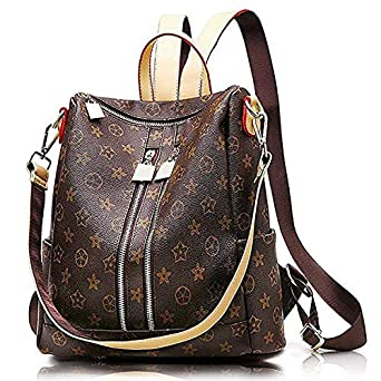INOVERA Vegan Leather Girl's Travel Casual Backpack With Shoulder Strap (Brown)