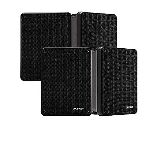 KICKER KB6 Indoor Outdoor Patio Speaker Bundle in Black 4 Speakers Total