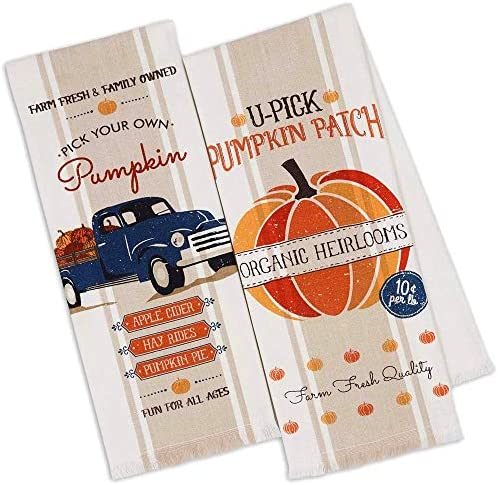 Pumpkin Farm Kitchen Towels Set of 2 Happy Fall Dish Towels Pack for Fall Kitchen Decor Beige product image