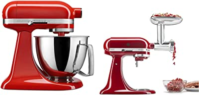 KitchenAid KSM3316XHT Artisan Mini Stand Mixers, 3.5 quart, Hot Sauce & KSMMGA Metal Food Grinder Attachment, 2.5 lb, Silver