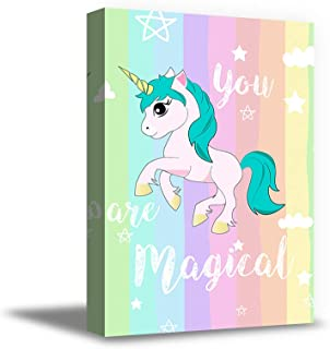 Awkward Styles You are Magical Canvas Poster Cute Unicorn Framed Picture Girls Room Canvas Decor Kids Room Wall Art Kids Bedroom Decor 8