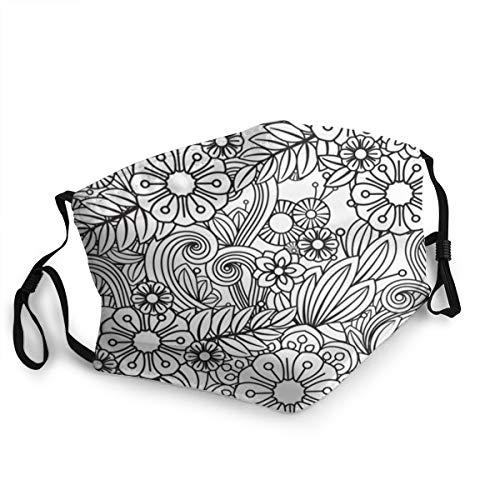 momnn Malvorlagen für Erwachsene Floral Black Funny Face Cover Wiederverwendbar, waschbares Tuch, Face Cover, Paar bequeme waschbare Maske