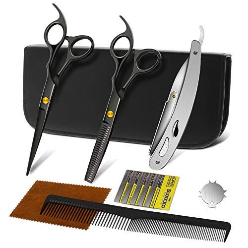 NWOUIIAY Tijeras de Peluquería 12PCS de Acero Inoxidable Juego de Tijeras Pelo con Navaja de Afeitar para Hogar Peluquería Salón Negro