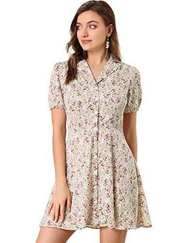 Allegra K Vestido Acampanado Floral Campamento Collar Manga Corta Botones Arriba Vintage para Mujer Rosa XL