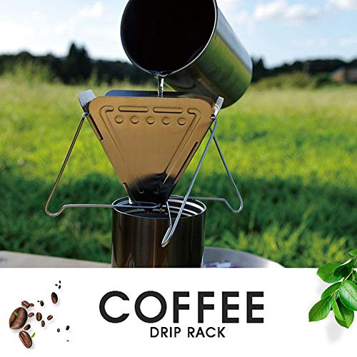 Walmeck- Soporte de Goteo de café de Acero Inoxidable Estante de Filtro de café Plegable Camping Senderismo Picnic Verter sobre Cono de Goteo de café