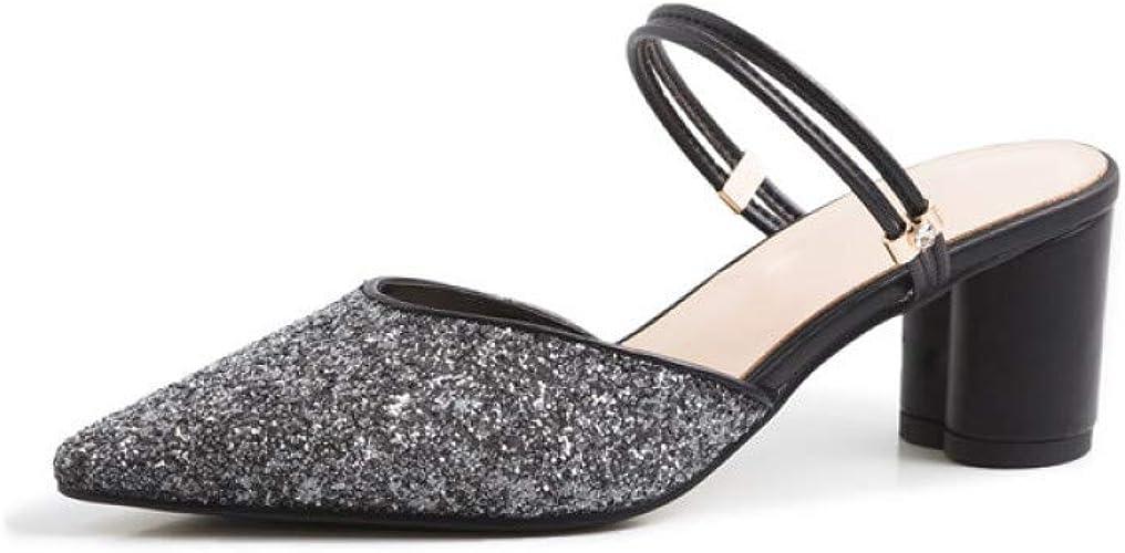 VIVIOO Chaussures en Cuir véritable Femmes Pompes Glisser sur Chaussures d'été Talons Hauts Chaussures de fête de la Mode Femme Mules Chaussures