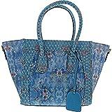 Laura Vita, , SAC A MAIN P.U Cuir Femmes, SAC de Ville Été, Style Original Fleurs, NOIR (Bleu)