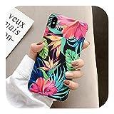 人気モデル欠如レトロカラフルな花電話ケースiphone XR XS最大X 6 6 s 7 8プラス11 11Pro最大葉マットソフトアート花の裏表紙-Style 5-For iphone XR