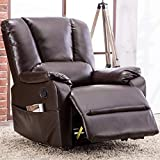 Bonzy Home Air Leather 360°Swivel Glider Recliner Chair - Overstuffed Faux Leather Recliner - Manual Classic Recliner Chair - Home Theater Seating, Bedroom & Living Room Reclining Sofa Chair (Brown)