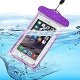 I-Sonite (púrpura universal transparente teléfono móvil, pasaporte, dinero subacuático impermeable piscina, protección océano bolsa táctil sensible para Wiko Tommy 2 Plus