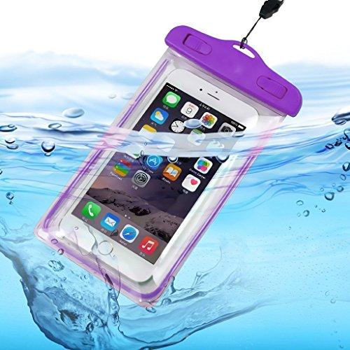 I-Sonite (púrpura universal transparente teléfono móvil, pasaporte, dinero subacuático impermeable piscina, protección océano bolsa táctil sensible para Lenovo Yoga Tab 3 Plus