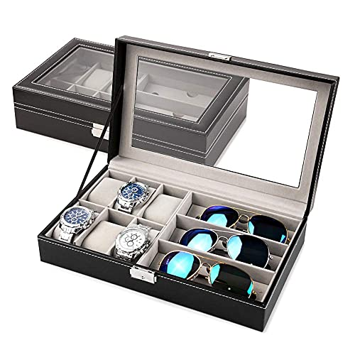 Guuisad PU Cuero Reloj Cajas de Almacenamiento Organizador de Almacenamiento Caja de Lujo joyería Pulsera Reloj Soporte de Pantalla Caja de Caja Negra Caja