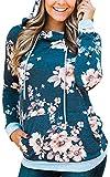 Angashion Women Hoodies-Tops- Floral Printed Long Sleeve Pocket Drawstring Sweatshirt With Pocket,Blue,US 10/Tag XL