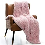 Mr.Sandman Shaggy Sherpa Weighted Blanket, Decorative Soft Fuzzy Fluffy Faux Fur Throw Blanket for Couch Sofa and Twin/Full Size Bed - 48'×72' 15lbs, Blush Pink