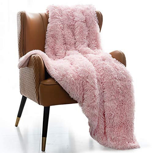 Mr.Sandman Super Soft Faux Fur Weighted Blanket with Fluffy Sherpa Back, Decorative Shaggy Wrinkle-Resistant Throw Blanket for Couch Sofa Bed - 48