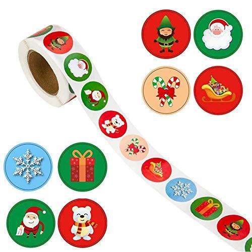 Etichette regalo di Natale Adesivi autoadesivi Etichette regalo 500 pezzi Etichette regalo di Natale Babbo Natale / Fiocco di neve / Orso 8 Motivi per feste di Natale Presenta Etichette Decalcomanie