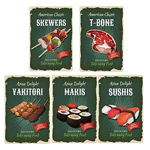 Zidao Brochetas Clásicas Americanas T-Bone Yakitori Sushi Metal Tin Sign, Arte Poster Plate Slogan Vintage Tin Sign Sign para Restaurante De Comida Rápida