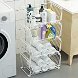 Pusdon Stackable Storage Metal Baskets, 4-Tier Anti-rust Fruit Vegetable Rack with Removable Wheels, Floor Standing & Countertop Dual Use, Kitchen Home Space Save Design Patent Approved Shelf, White