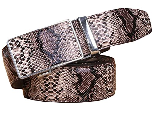 Ayli Men's Genuine Leather Ratchet Belt, Alligator Snakeskin Embossed
