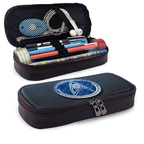 Star Trek Leather Pen Case Holder Cosmetic Double Zipper Bag for Adults Girls Boys School Office