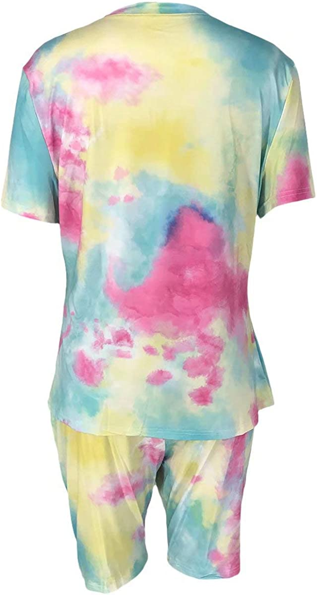 Summer Oversized T Shirts Top Bodycom Short Tie Dye Jogging Suit Set Plus Size Two Piece Outfits for Women