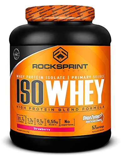 ROCKSPRINT   PROTEÍNA WHEY AISLADA   31,6g de proteína por dosis   Iso Whey   2kg Fresa