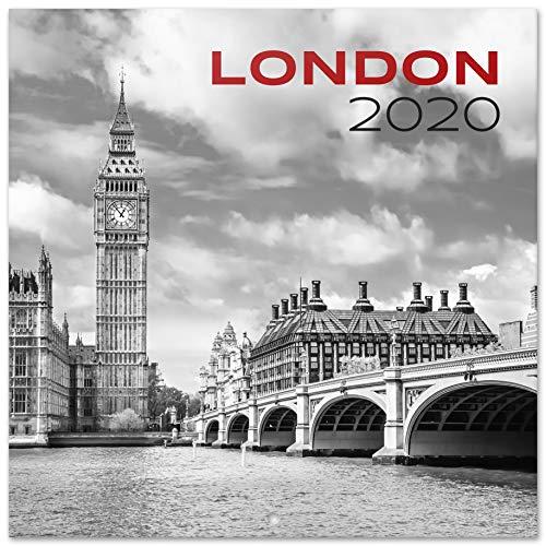 ERIK® London S/W  Wandkalender/Broschürenkalender 2020 30x30cm (aufgeklappt 30x60cm im Hochformat)