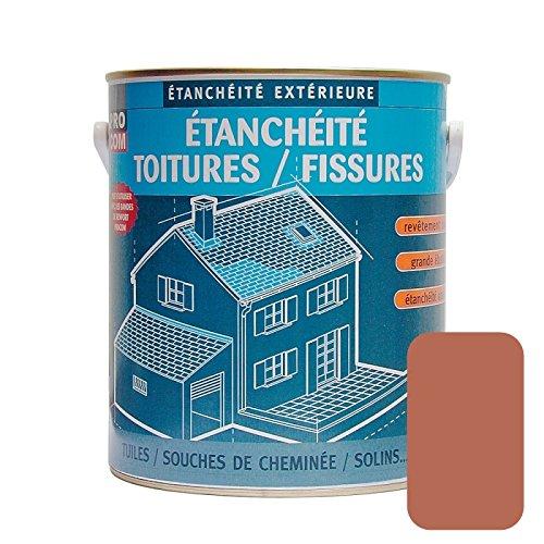Peinture, résine détanchéité toiture, réparation tuiles, fissures, anti-fuites, décore, protège, plusieurs coloris PROCOM 2.5 litres Terre cuite