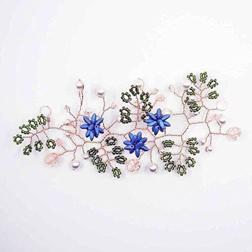 Bruid haaraccessoires met glazen bloemen en Swarovski blauw La Bottega Liventina