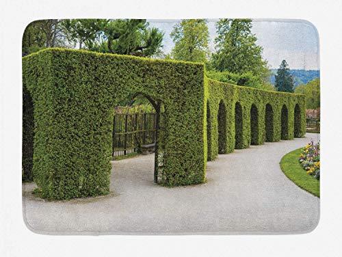 LiminiAOS Badteppich in Buchshecke, Park mit Büschen und Rasen Garten Kunstlandschaft Design Außenbild, Badteppich Plüsch mit Antirutschunterlage, bunt