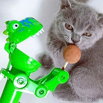 POPETPOP Chat Cataire Jouet Chat Collations Bâtonnets de Bonbons avec Robot Dinosaure Jouet Interactif Chaton Bâtons Dherbe à Chat Comestibles