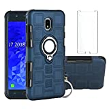 Phone Case for Samsung Galaxy J7 Star J7 Crown 7J Refine 2018 J7V V 2nd Gen with Tempered Glass Screen Protector Cover Stand Ring Holder Hybrid Cell Accessories Glaxay Aura S767VL SM J737V Cases Blue