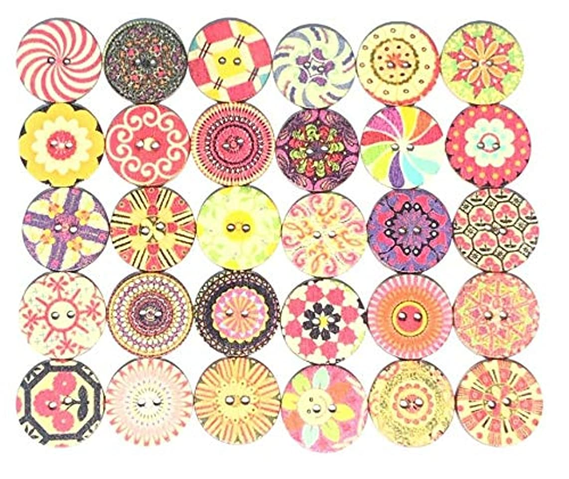 Wooden Buttons, 100pcs Flower Painting 2 Holes Buttons for Decorative and Sewing Crafting (20mm)