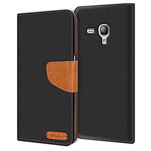 Verco Galaxy S3 Mini Custodia per Cellulare, Caso Tessuto per Samsung Galaxy S3 Mini Cover Tessilo Portafoglio Case, Nero