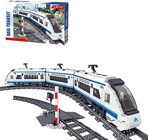 Barm Juego de construcción de Tren eléctrico City con Pista, Tren de Alta Velocidad con Motor, 641 Piezas de Bloques de construcción compatibles con Lego (armonía)