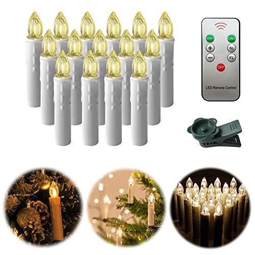 UISEBRT 40er LED Weihnachtskerzen mit Fernbedienung Kabellos Warmweiß Kerzen Flammenlose für Weihnachtsbaum, Weihnachtsdeko, Hochzeitsdeko, Geburtstags, Party, Feiertag (40er Onhe Batterie)