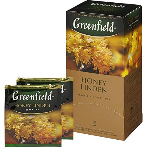 Greenfield Schwarzer Broken Tee Honey Linden 3er Pack (3 x 25 Teebeutel ) black Tea