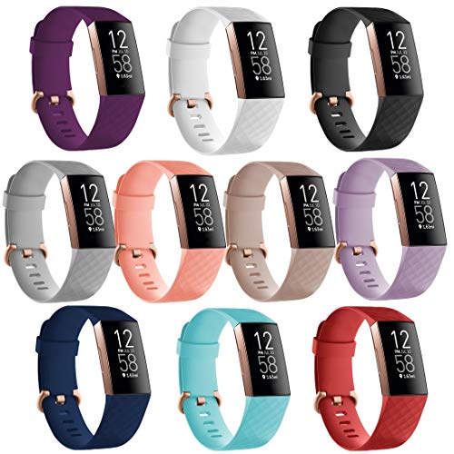 TECKMICO 10PCS Replacement Bands Compatible with Charge 4/Charge 3/Charge 3 SE with Rose Gold Buckle,Women Men NO Tracker (10 Pack, Small)