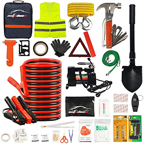 AUTODECO 118 Pieces Car Emergency Kit – Premium Heavy Duty Car Safety Kit – 13.5 Foot Durable Jumper Cables, Portable Air Compressor, Tow Strap, Multifunctional Hammer, Shovel, etc