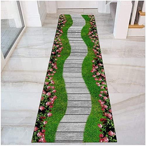 Camino de flores Pasillo corredor de tapetes, alfombras antideslizante Puerta de entrada perfecto for Hall de entrada Pasillo Cocina Escaleras, Cuttable, lavable ( Color : Green , Size : 100x200cm )