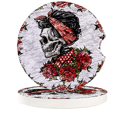 "6 Pack Skulls Car Coasters, 2.56"" Absorbent Ceramic Car Cup Holder Coaster with Fingertip Grip for Easy Removal, Keeps Car Clean Sugar Roes Flowers Skull Skeleton Halloween"