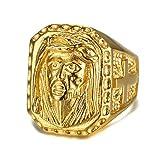 BOBIJOO JEWELRY - Gran sortija de Sello de Oro en la Cabeza de Jesús de la Cruz del Acero Inoxidable de Oro Viajeros de los Gitanos - 27 (12 US), Dorado - Acero Inoxidable 316