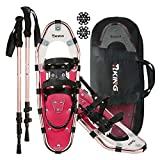 HRKING Womens Snowshoes Set,Youth snowsheos with Trekking Poles,Carrying Tote Bag red 14""