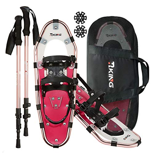 "HRKING Womens Snowshoes Set,Youth snowsheos with Trekking Poles,Carrying Tote Bag red 14"" /21"" /25""/30"""
