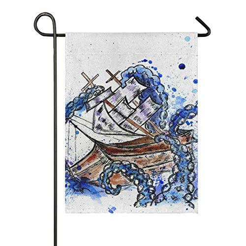 JIRT Polyester-doppelseitiges Willkommensgeschenk-Yard-Garten-Flaggen-Fahnen-28x40 Zoll-Karikatur-riesige Krake fängt Segelboot