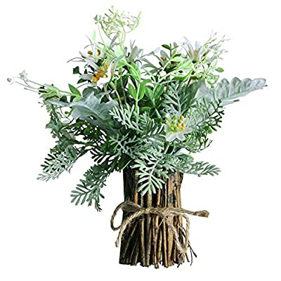 Aisamco Artificial Assorted Flowers Fake Green Plant Branches with Natural Wooden Bracket Artificial Flower Fake Plant Greenery Floral Arrangement for Table Home Office Party Wedding Decoration (A)